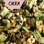 tender cooked okra close up of fresh chopped green okra and spices.