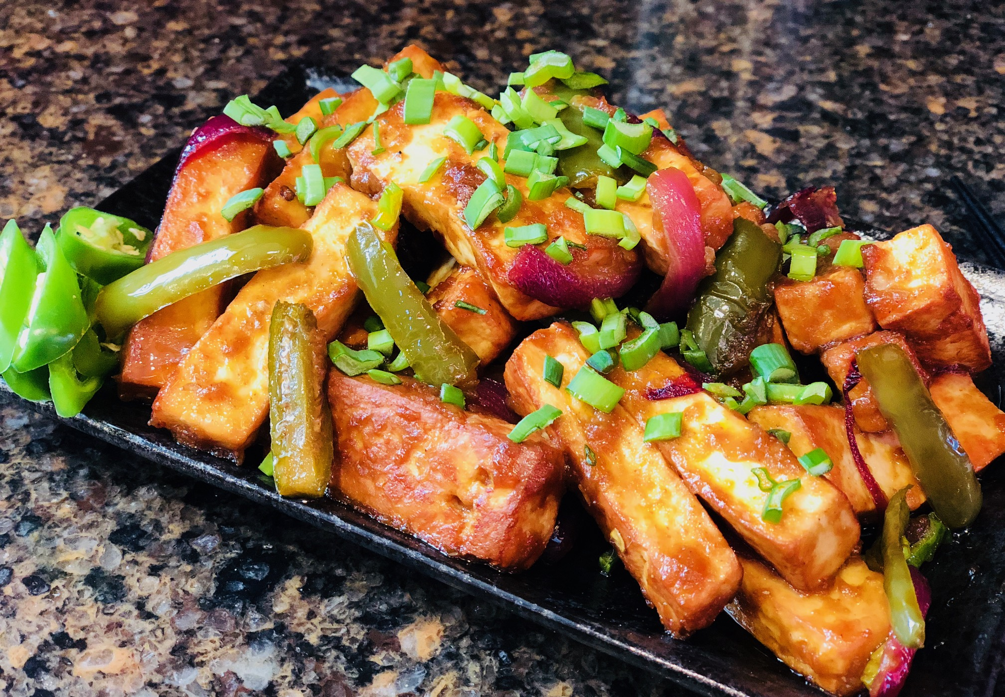 Paneer cubes long rectangles for paneer chili indo fusion recipe indian popular chinese food recipe spicy fusion recipe fried paneer fry pan garlic ginger