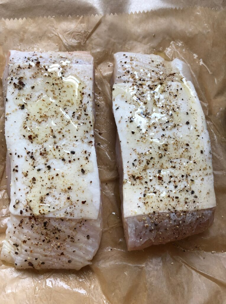 Halibut Filets with oil and black pepper fresh seafood from local california bay area shores