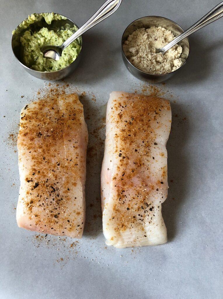 halibut fish filets with almond crust and garlic herbs parsley butter cilantro cajun seasoning