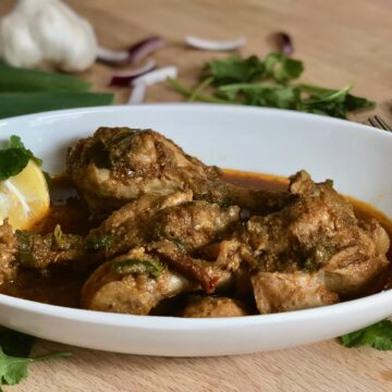 Delicious chicken curry with bones and tasty spices instant pot cooked