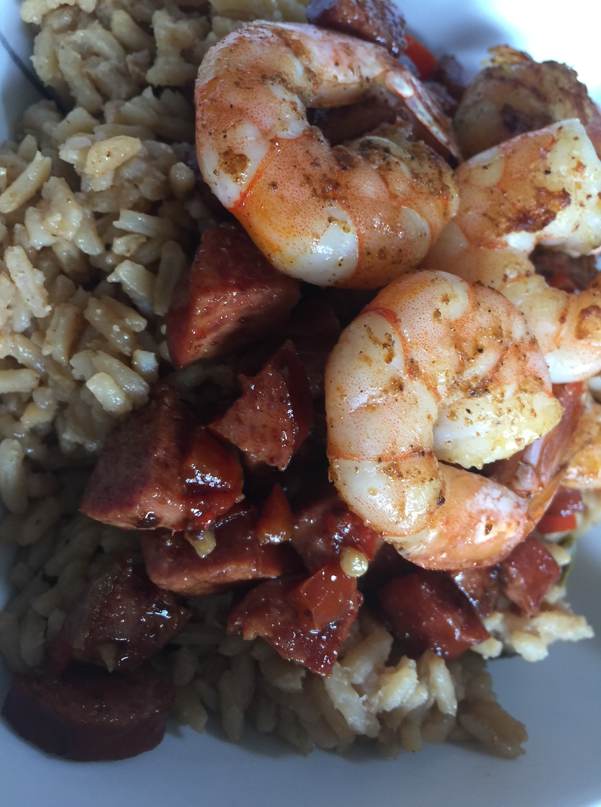 Spicy Jambalaya mix with green chili peppers turkey sausage bell pepper curry easy indian fusion recipe