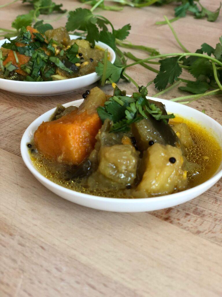 Eggplant with sweet potato ringan nu shaak