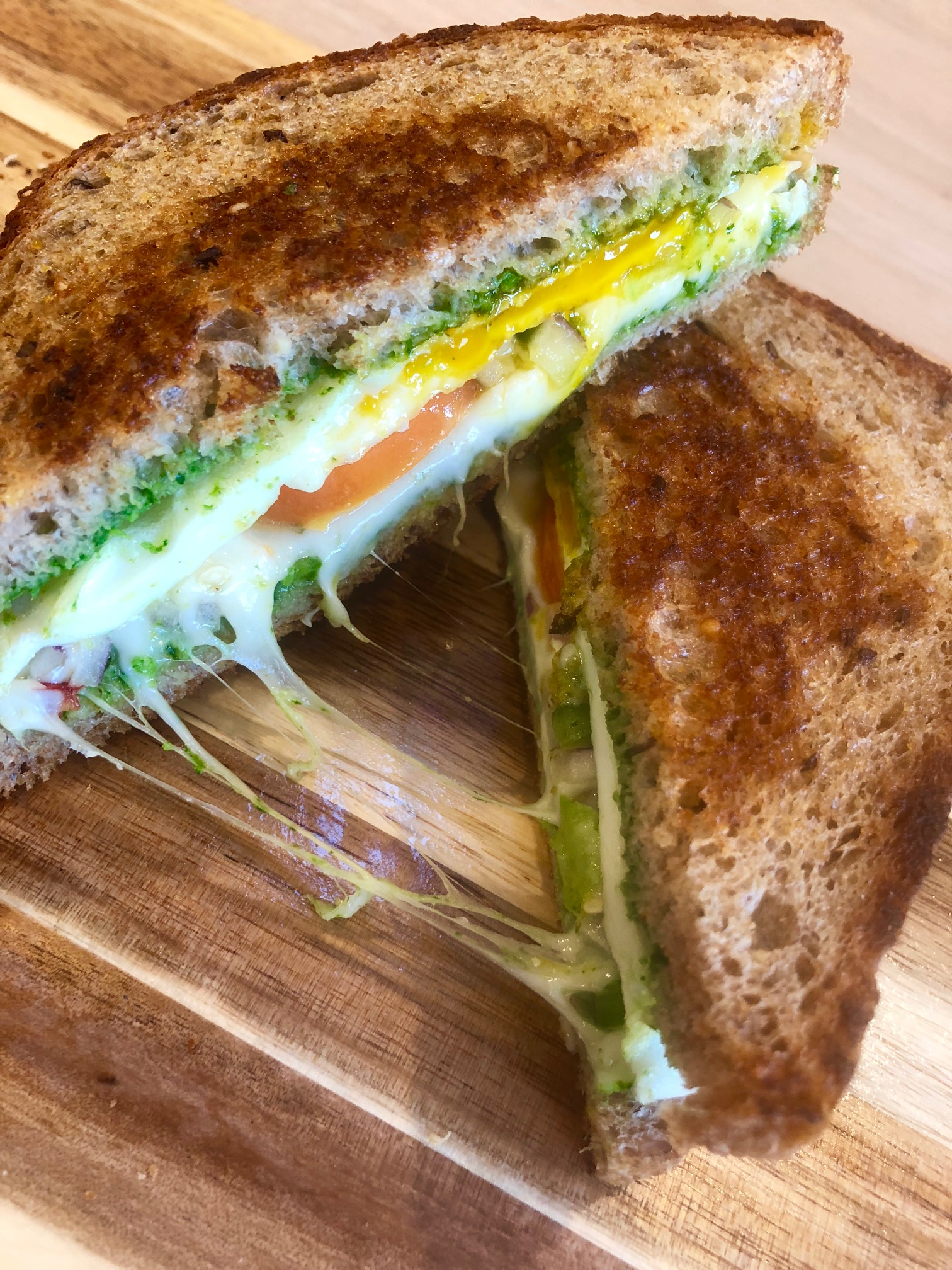 Chutney Grilled Cheese with a fried egg