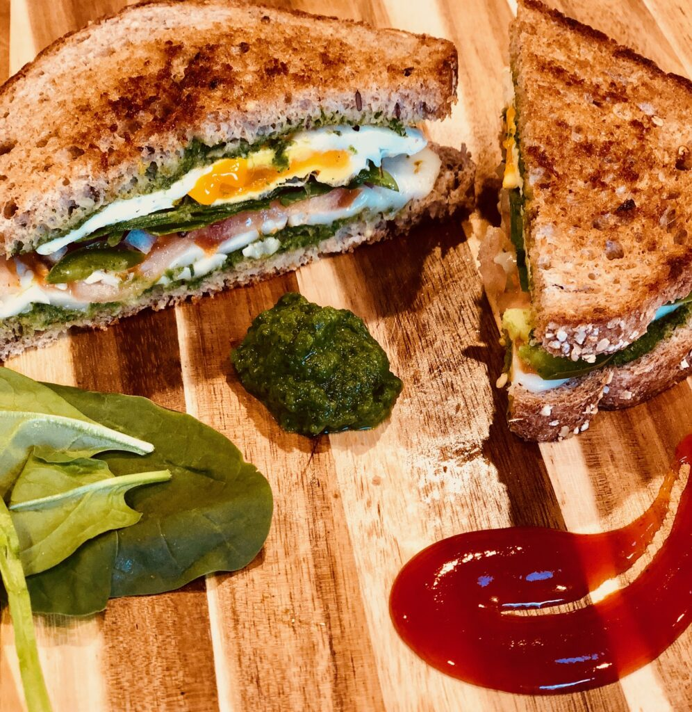 a spicy sandwich with egg