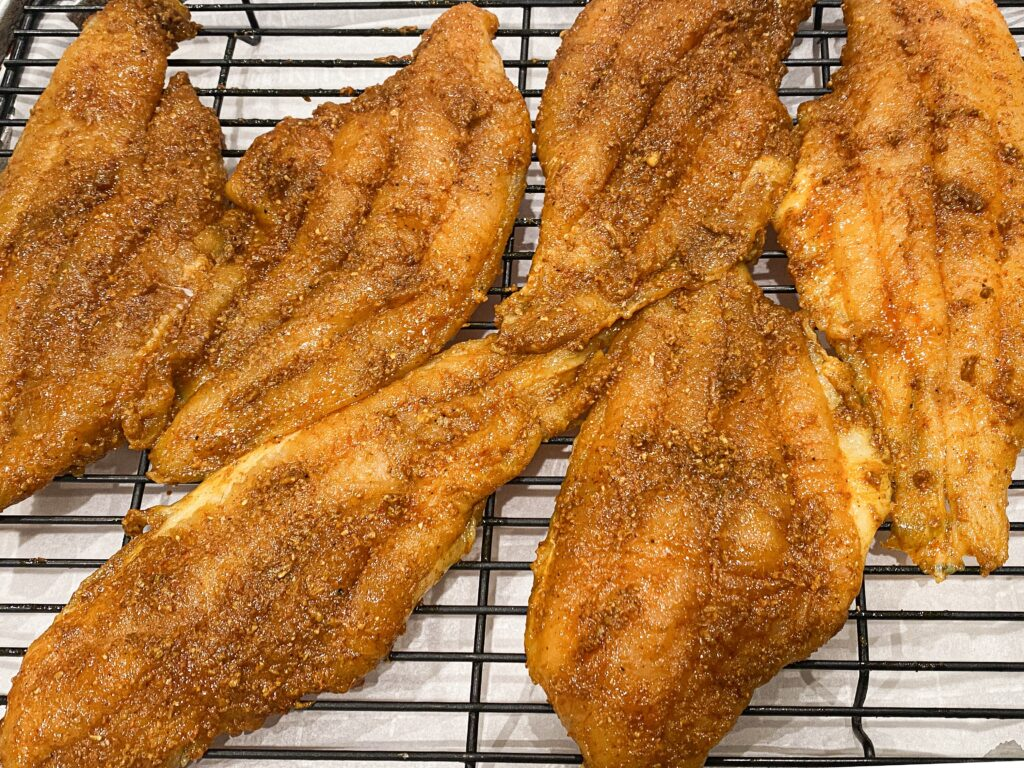 large raw catfish filets with indian spices