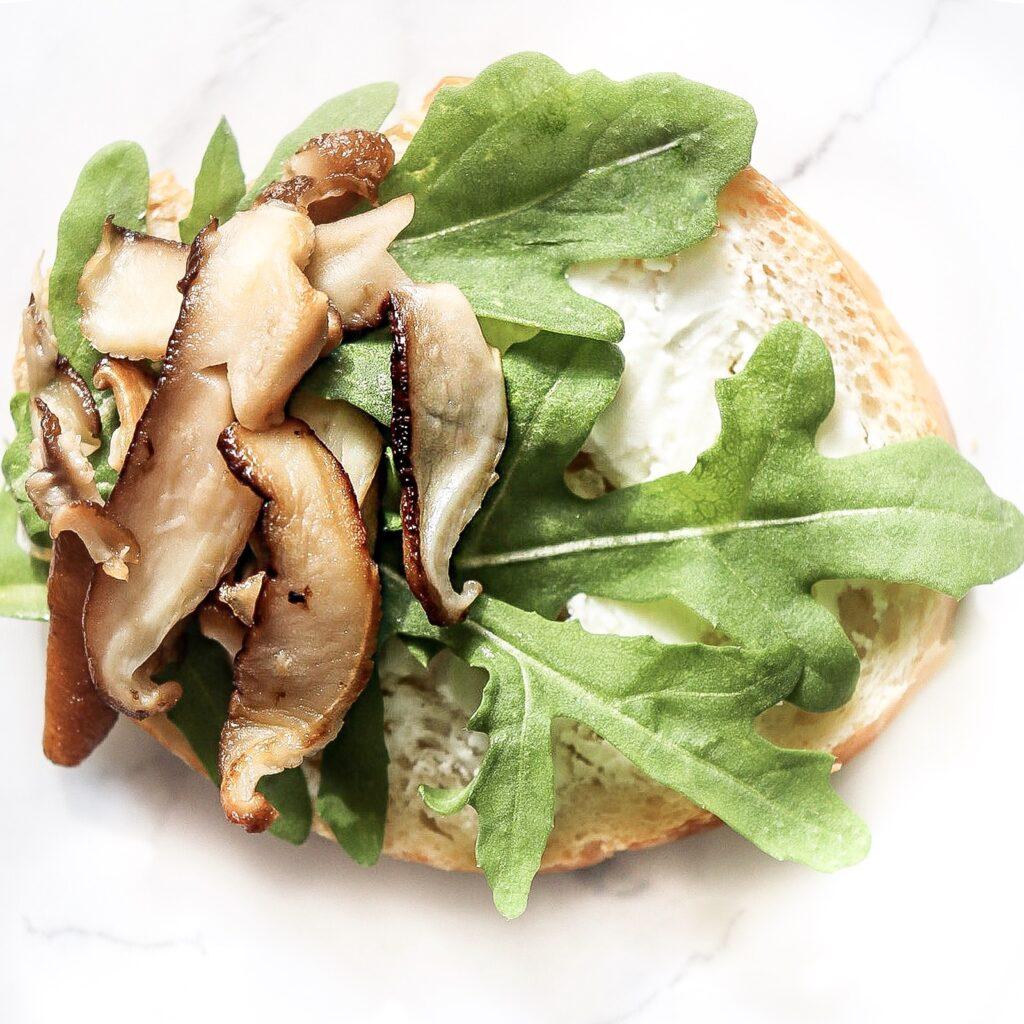 Toasted garlic bread shiitake mushrooms creamy goat cheese arugula  appetizer arugula goat cheese dinner salad