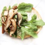 Toasted garlic bread shiitake mushrooms creamy goat cheese arugula appetizer arugula goat cheese dinner salad