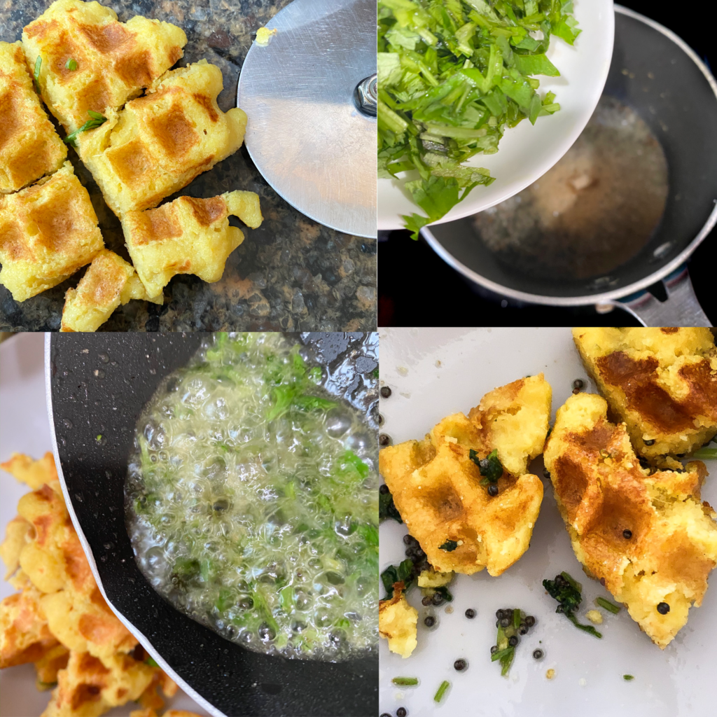 process of making khaman in a waffle iron.