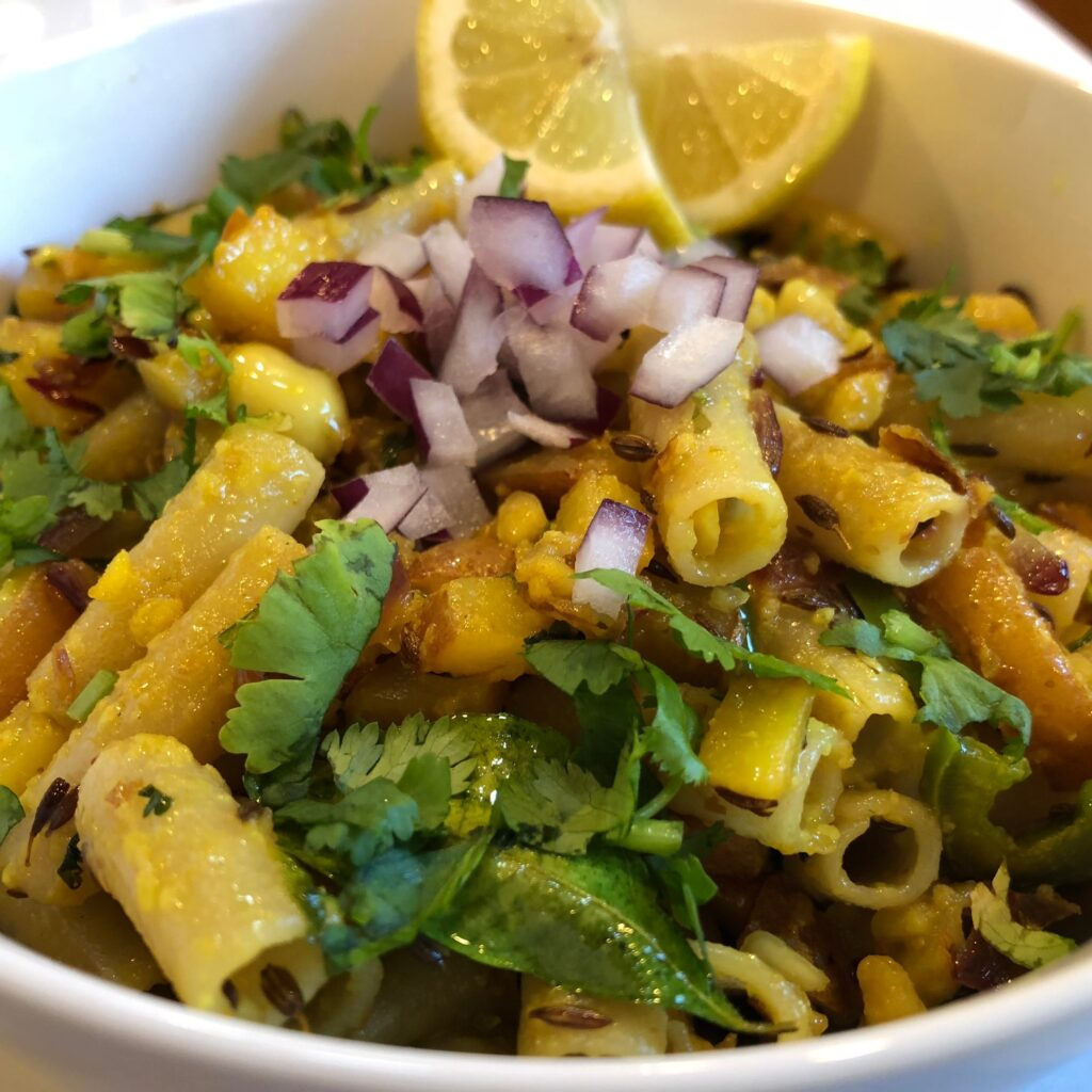 pasta with onions and spices pasta e patate indian style pasta dish