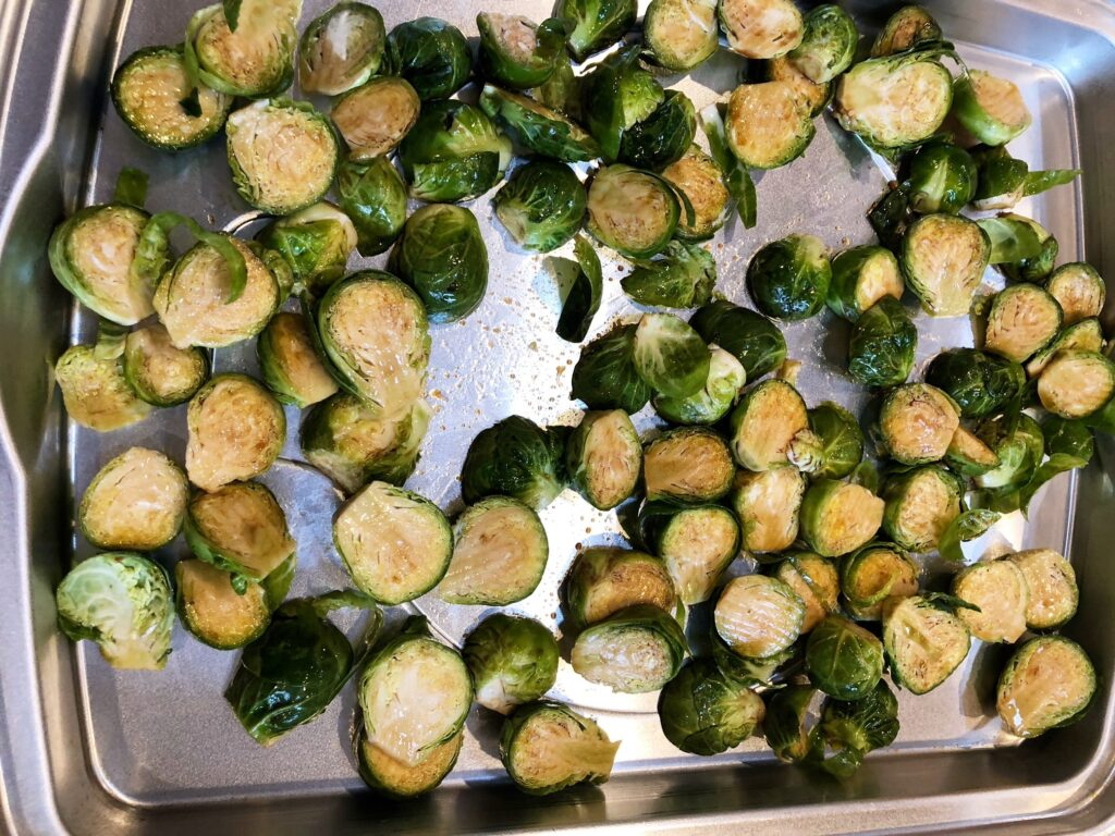 The Curry Mommy brussels sprouts roasted in oven with balsamic vinegar crispy keto friendly indian recipe