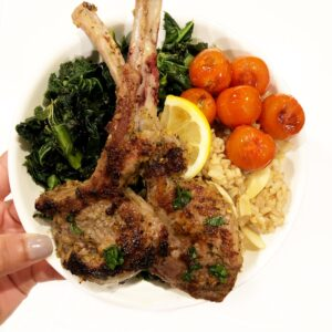 the curry mommy Lamb Chops with masala rice and kale salad