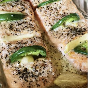 baked chili salmon with green chili peppers and coarse pepper