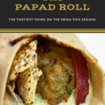 A wrap that includes papad and chicken kebab