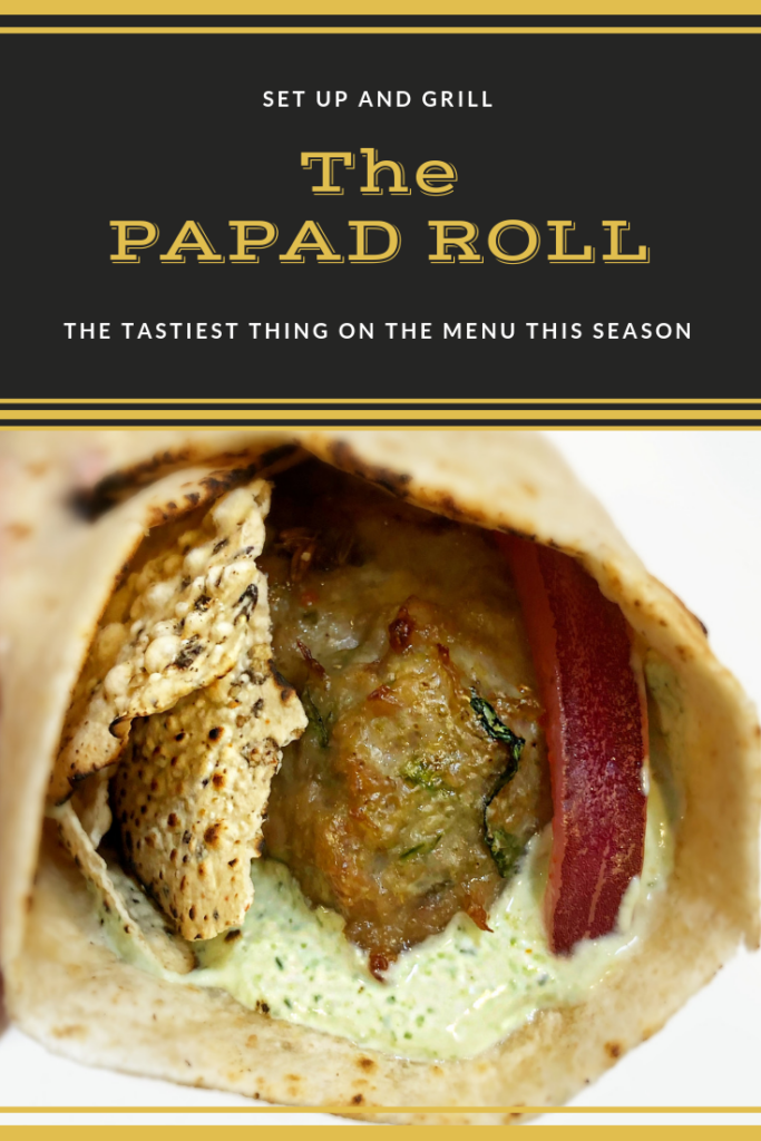 Papad Roll indian wrap recipe with roasted papad and marinated onions