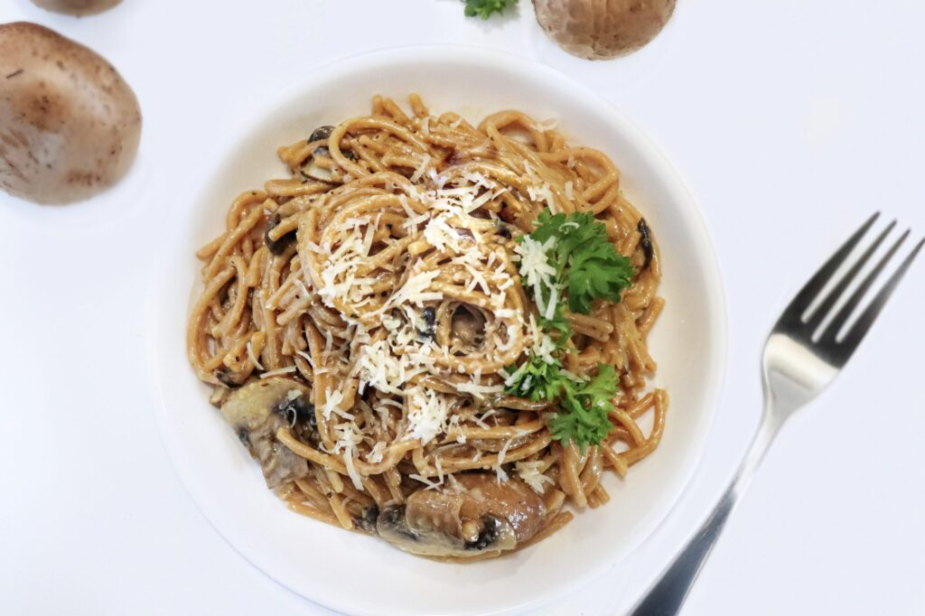 Creamy mushroom pasta with bouillon cube and milk or heavy cream easy weeknight meal
