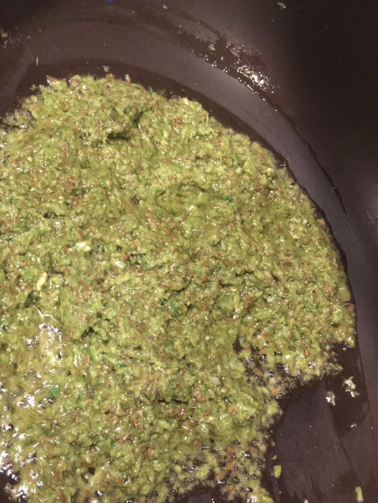 cooking chutney and cumin seeds