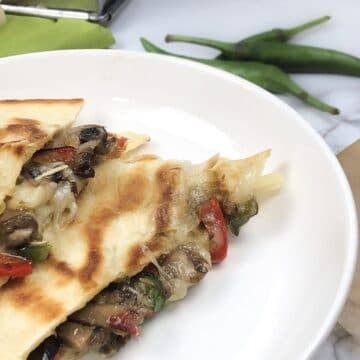 Easy italian quesadillas with mushrooms and jalapenos