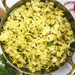 Indian Fried Rice with yogurt and tumeric kid friendly family friendly spicy fried rice vagharelo bhaat