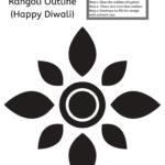 A kid Diwali worksheet with rangoli.