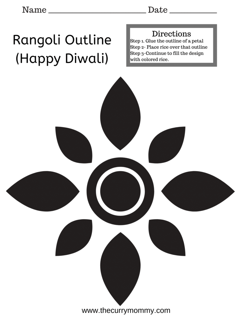 A kid Diwali worksheet with rangoli.