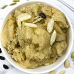 Semolina Flour cooked with ghee, sugar, and milk and eaten as a dessert. Almonds and raisins are also added to the dish.