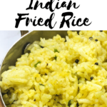 An Indian Fried Rice recipe that includes turmeric and tempered oil.