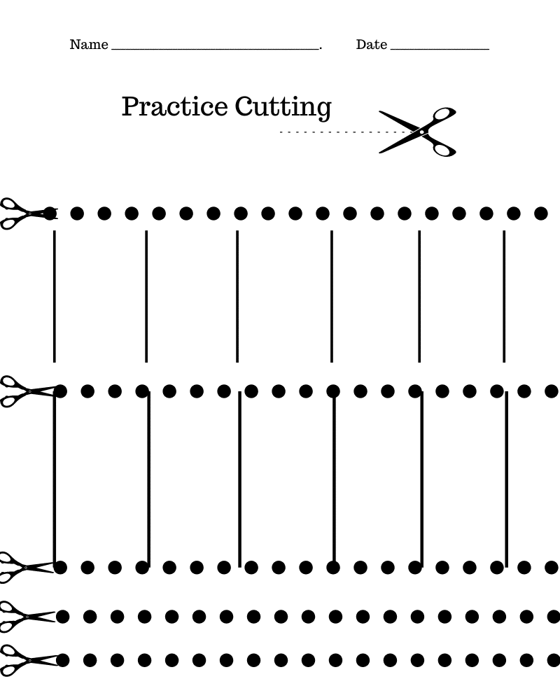 A page with scissors and lines to help kids practice cutting skills.