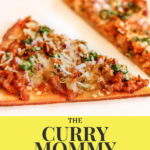 minced meat keema pizza by blogger and recipe developer, the curry mommy