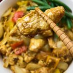 n Indo Chinese Chicken Curry dish with curry powder and spices