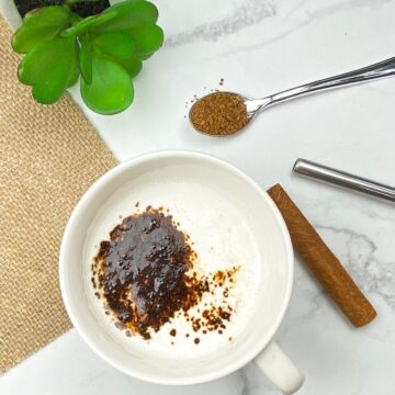 Indian Milk Coffee with milk, instant coffee, and cinnamon spices.