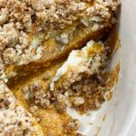 Crumble cheesecake with Trader Joe's pumpkin spice cake and pecan streusal