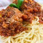 spaghetti and meatball marinara with ground beef homeade restaurant style taste