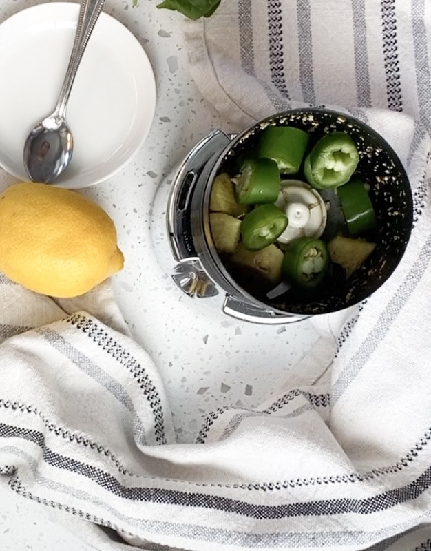 chutney machine grinding serrano chili pepper and ginger