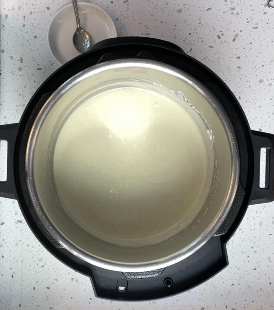 mixed poodla content in an instant pot for fermentation rice pancakes