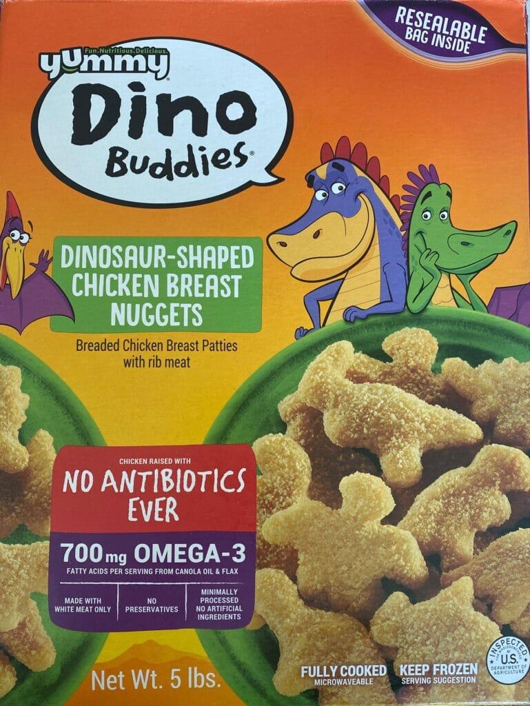 a box of dino buddies chicken nuggets