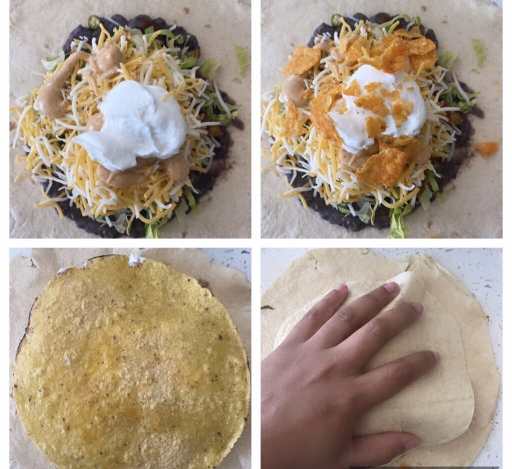 sour cream, cheese, and tostada before folding a crunchwrap