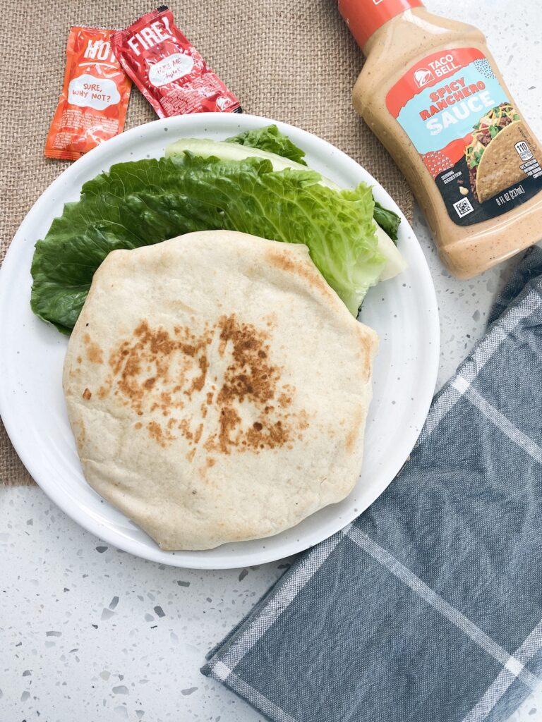 grilled flour tortilla with fresh vegetarian ingredients