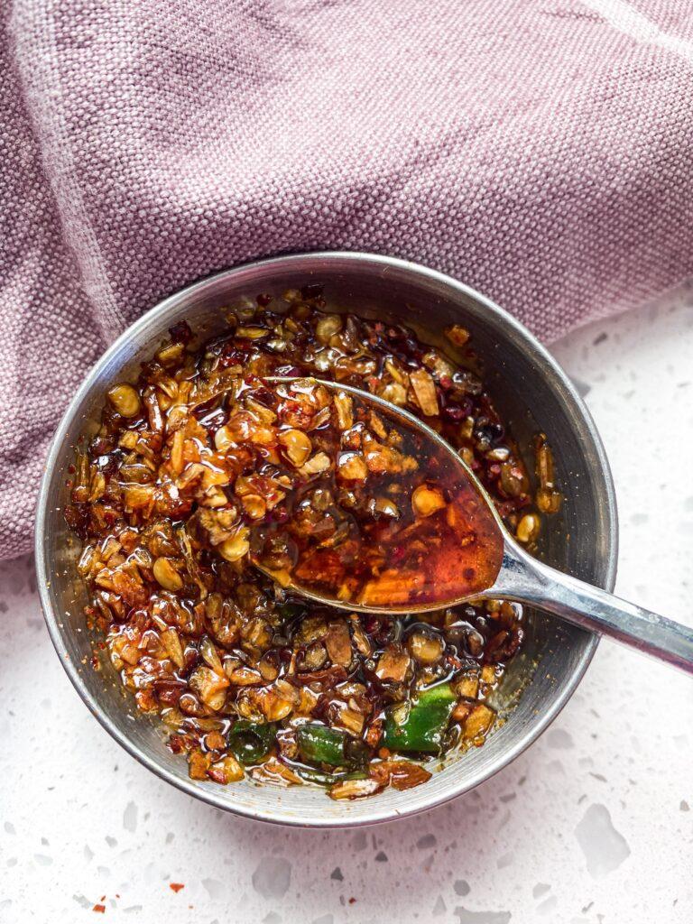 Red chili flake and scallion momo chutney recipe