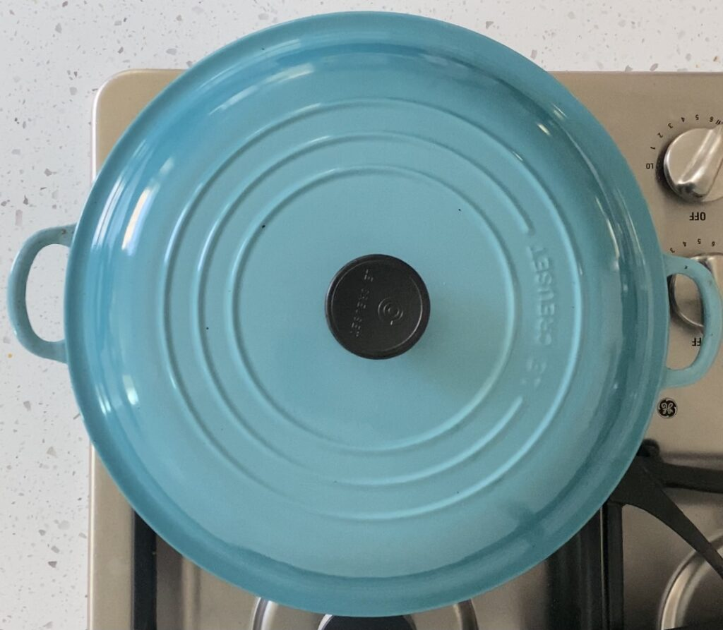 teal le creuset pot with a lid